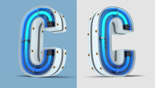 Renderização em 3d do alfabeto letra sinal de néon