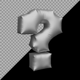 Renderização em 3d do balão prateado do símbolo do ponto de interrogação