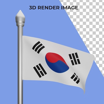 Renderização em 3d do conceito da bandeira da coreia do sul - dia nacional da coreia do sul