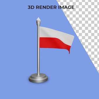 Renderização em 3d do conceito da bandeira da polônia - dia nacional da polônia