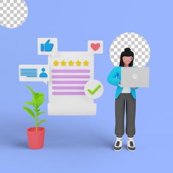 Renderização em 3d do gerenciamento de feedback do cliente para a página de destino do seu site