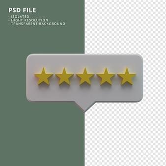 Renderização em 3d do ícone de cinco estrelas de classificação