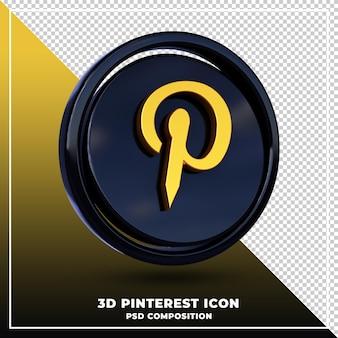 Renderização em 3d isolada do logotipo brilhante do pinterest