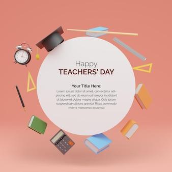 Renderização em 3d projeto da postagem do dia mundial dos professores com círculo de forma redonda para seu texto