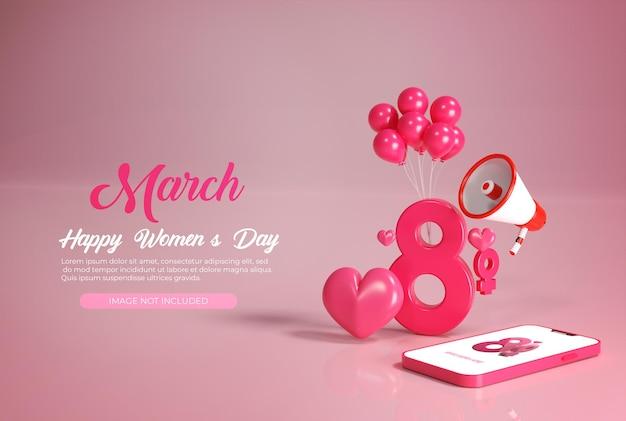 Renderização feliz dia da mulher