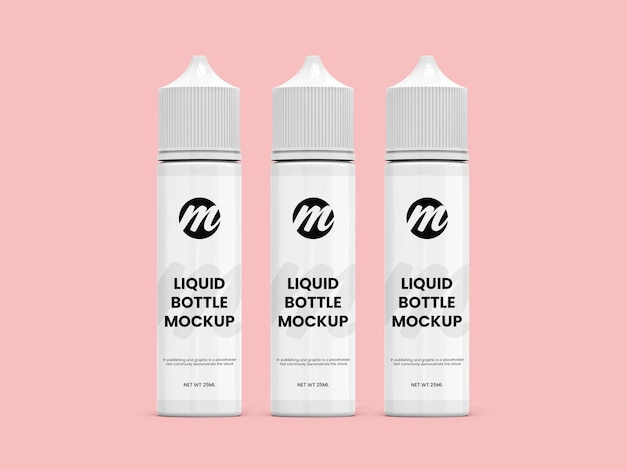 Renderização isolada de maquete de frasco líquido ou conta-gotas