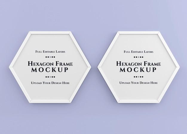 Renderização isolada de maquete de quadro hexagonal
