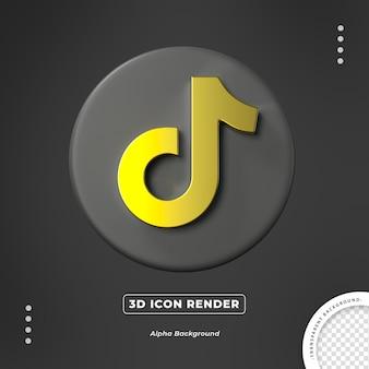 Renderização isolada do ícone 3d dourado tiktok