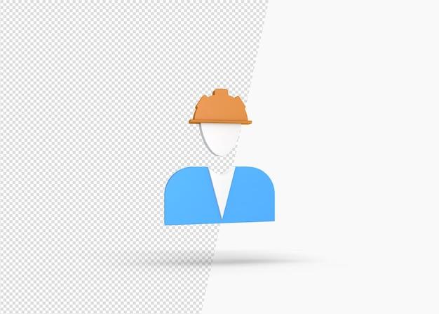 Renderização isolada do ícone do contratante em 3d