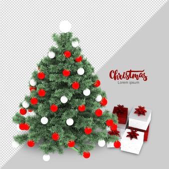 Renderização isométrica de árvore de natal e presentes