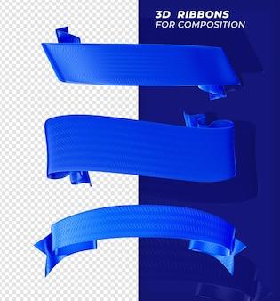 Renderização realista 3d fitas azuis para composição