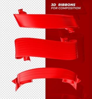 Renderização realista 3d fitas vermelhas para composição