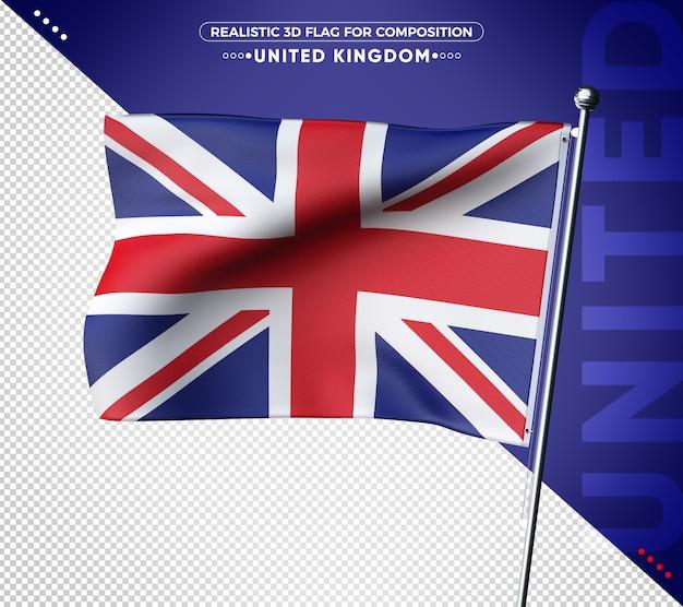 Renderização realista de bandeiras texturizadas em 3d do reino unido