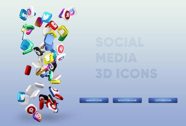 Renderização realista de ícones de mídia social 3d