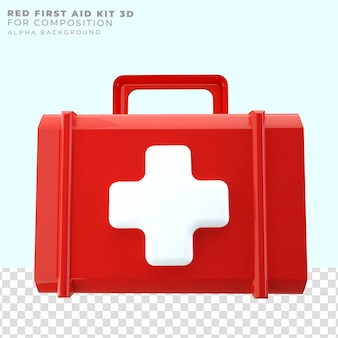 Renderizando caixa vermelha de primeiros socorros 3d