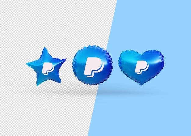 Renderizar balões de ícones paypal isolados