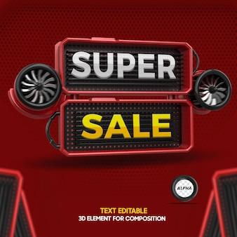 Renderize o elemento 3d para composição de super venda com texto editável para lojas em geral