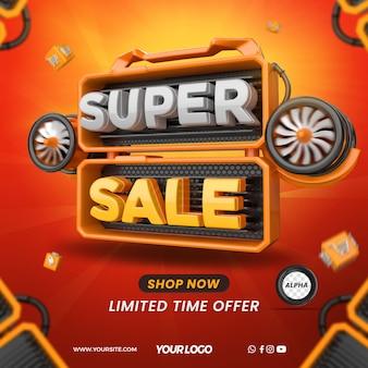 Renderize o elemento 3d para super venda com turbinas para composição em lojas em geral