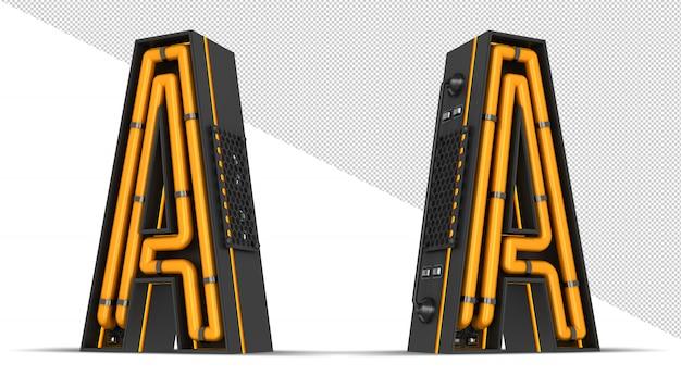 Rendição 3d da luz de neon do alfabeto