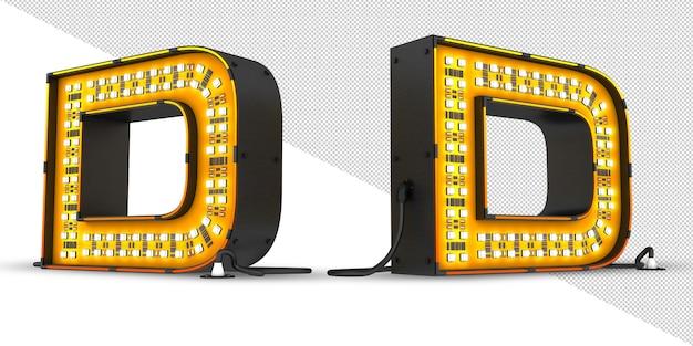 Rendição 3d da luz do alfabeto do diodo emissor de luz, arquivo de psd.