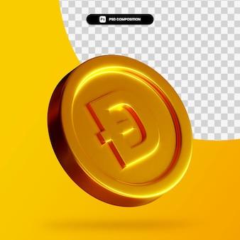 Rendição 3d da moeda dourada doge isolada