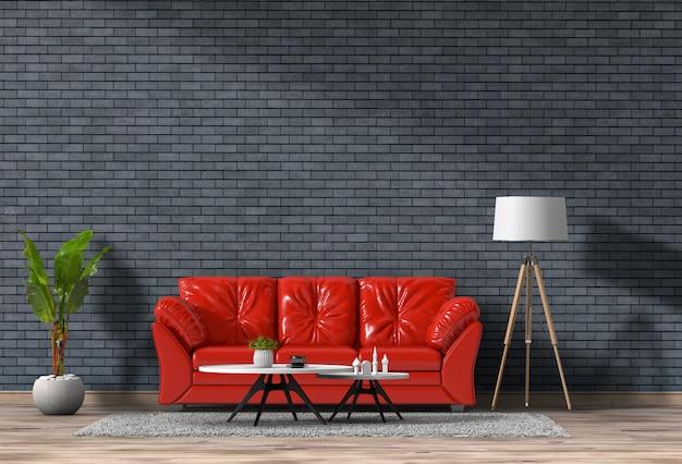 Rendição 3d da sala de visitas com a parede de tijolo na casa moderna, projeto interior do sótão