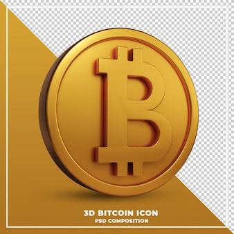Rendição 3d de bitcoin de moeda de ouro isolada