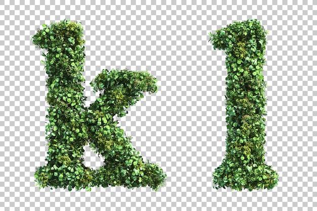 Rendição 3d do alfabeto minúsculo vertical do jardim ke alfabeto l