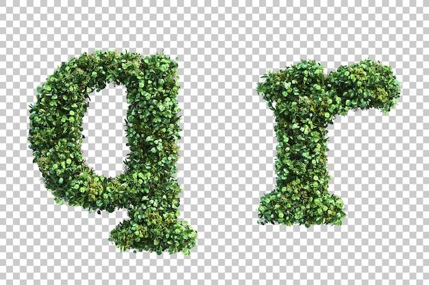 Rendição 3d do alfabeto vertical minúsculo do jardim q e alfabeto r