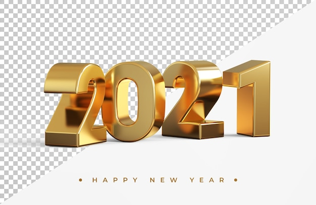 Rendição 3d do ouro 2021 do ano novo isolada