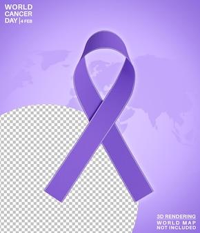 Rendição 3d isolada do símbolo do dia mundial do câncer