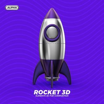 Rendimento 3d do foguete isolado