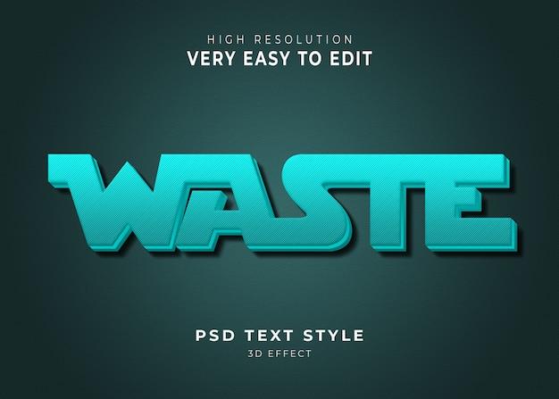 Resíduos 3d efeito de texto moderno