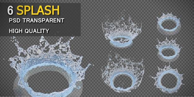 Respingo de água da coroa transparente isolado
