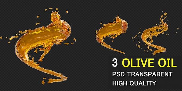 Respingo de azeite de oliva com gotículas na renderização 3d isolada