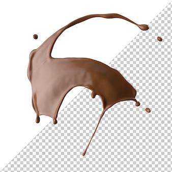 Respingo de leite com chocolate 3d realista isolado