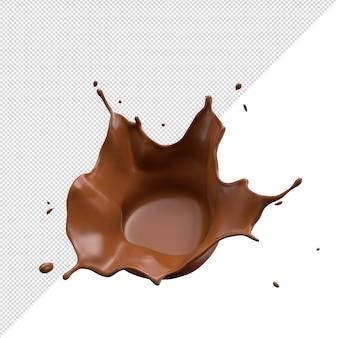 Respingo de leite com chocolate 3d realista