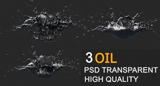 Respingo de óleo de tinta em design isolado de renderização em 3d