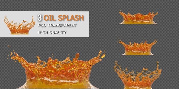 Respingo de óleo isolado em ilustração 3d