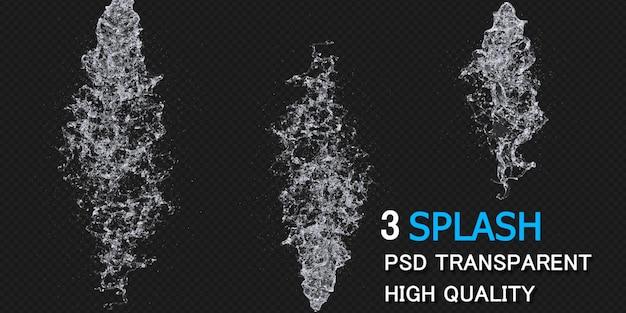 Respingos de água com desenho de pacote de gotas renderização isolada