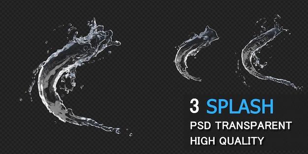 Respingos de água com gotas na renderização 3d isoladas
