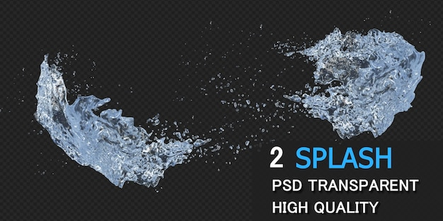 Respingos de água com gotas na renderização 3d isolados