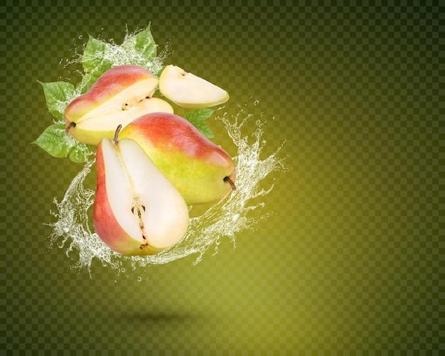 Respingos de água em peras frescas com folhas isoladas em fundo verde. psd premium