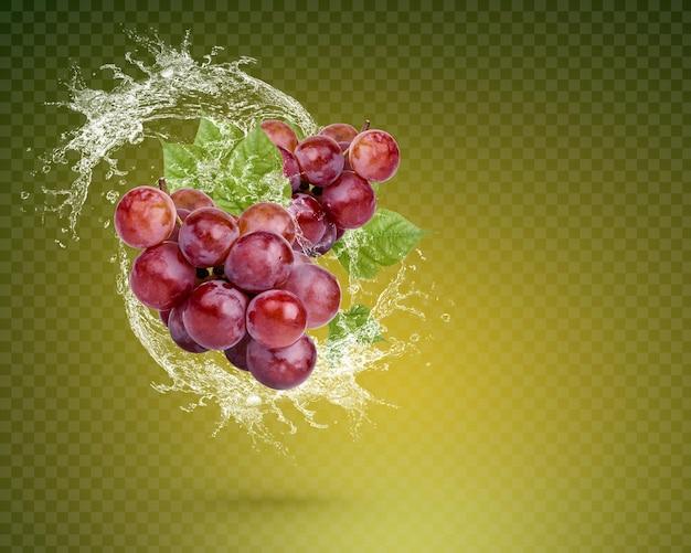 Respingos de água em uvas vermelhas frescas com folhas isoladas em fundo verde. psd premium