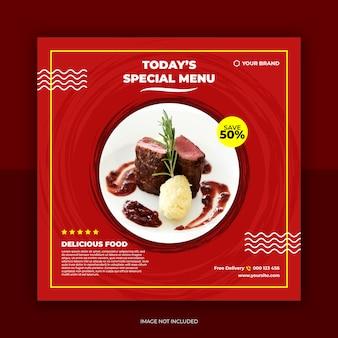 Restaurante banner e comida menu mídia social postar modelo