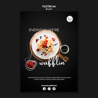Restaurante brunch com cartaz de waffles