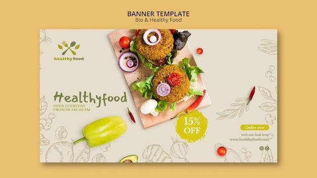 Restaurante com modelo de banner de comida saudável