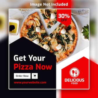 Restaurante comida instagram square post banner psd template