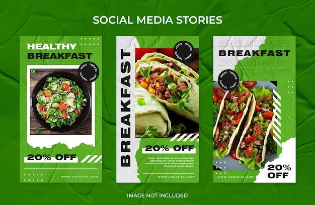 Restaurante de café da manhã saudável histórias do instagram coleção de modelos de postagem nas redes sociais