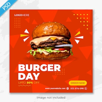 Restaurante de comida para mídias sociais instagram post banner template premium